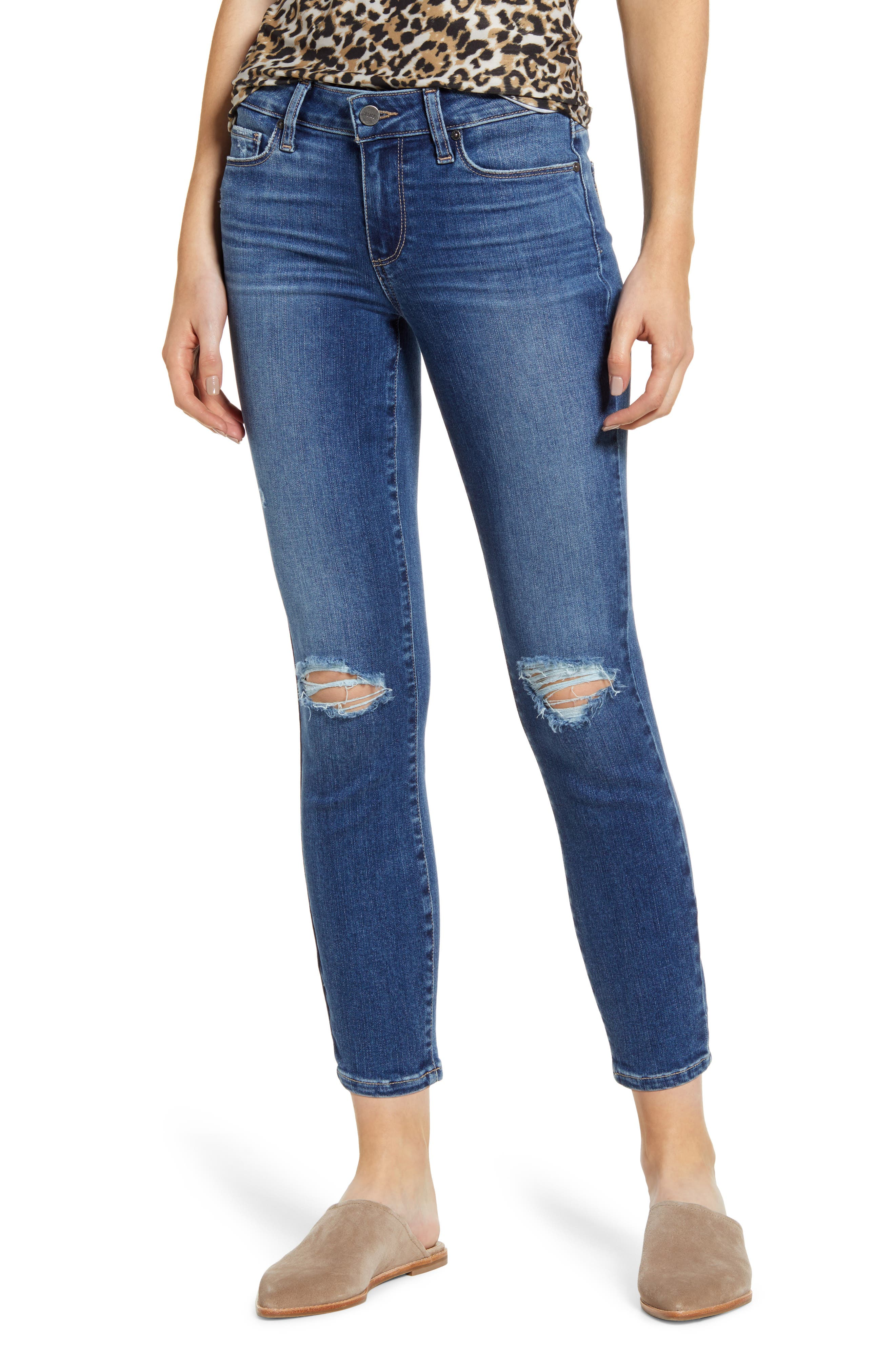 PAIGE Verdugo Ripped Crop Skinny Jeans (Spence Destructed)