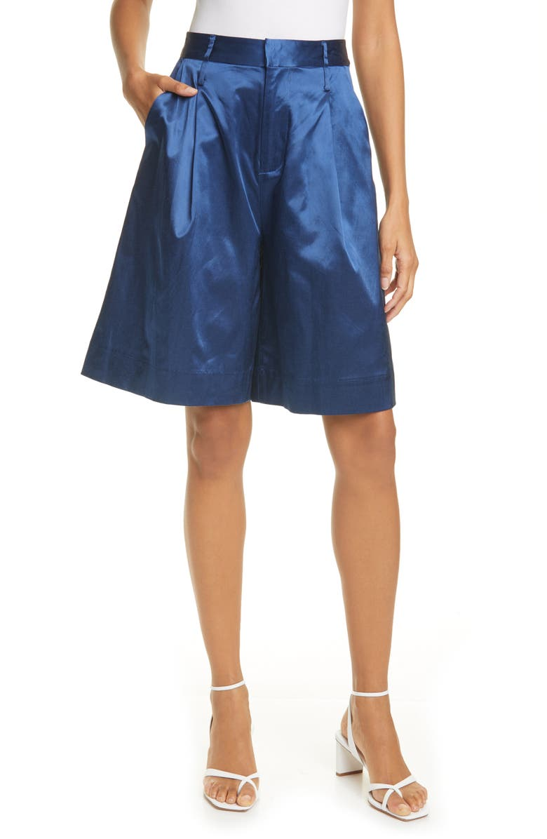 STAUD Noah Pleated Sateen Bermuda Shorts, Main, color, 410