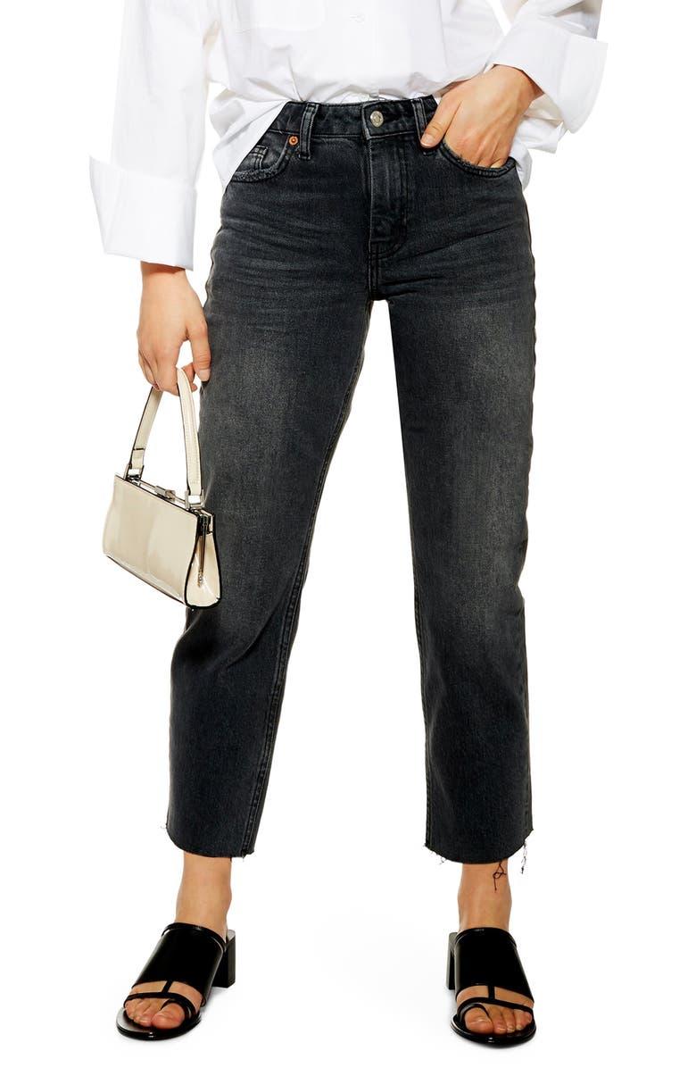 TOPSHOP Raw Hem Mom Jeans, Main, color, WASHED BLACK