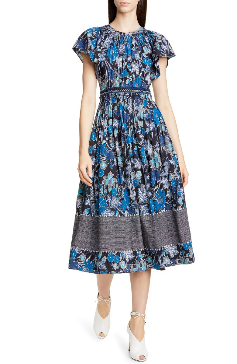 ULLA JOHNSON Lottie Floral Print Midi Dress, Main, color, LAPIS