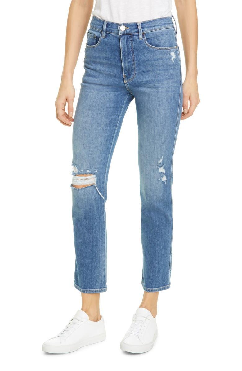 FRAME Le Sylvie High Waist Ripped Slender Straight Leg Jeans, Main, color, SONOMA RIPS