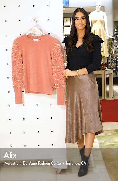 Imitation Pearl Embellished Puff Sleeve Sweater, sales video thumbnail