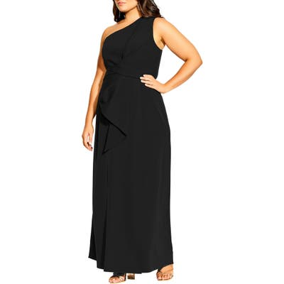 Plus Size City Chic Alegra One Shoulder Maxi Dress, Black