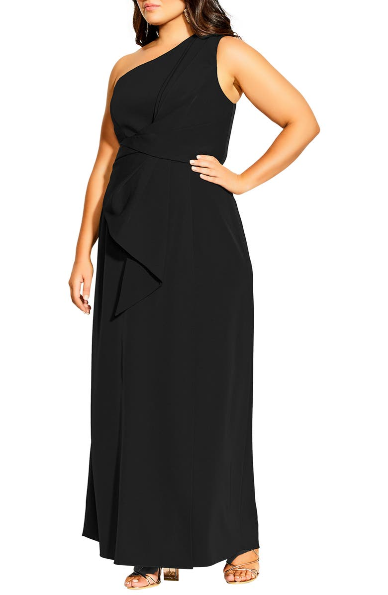 CITY CHIC Alegra One Shoulder Maxi Dress, Main, color, BLACK