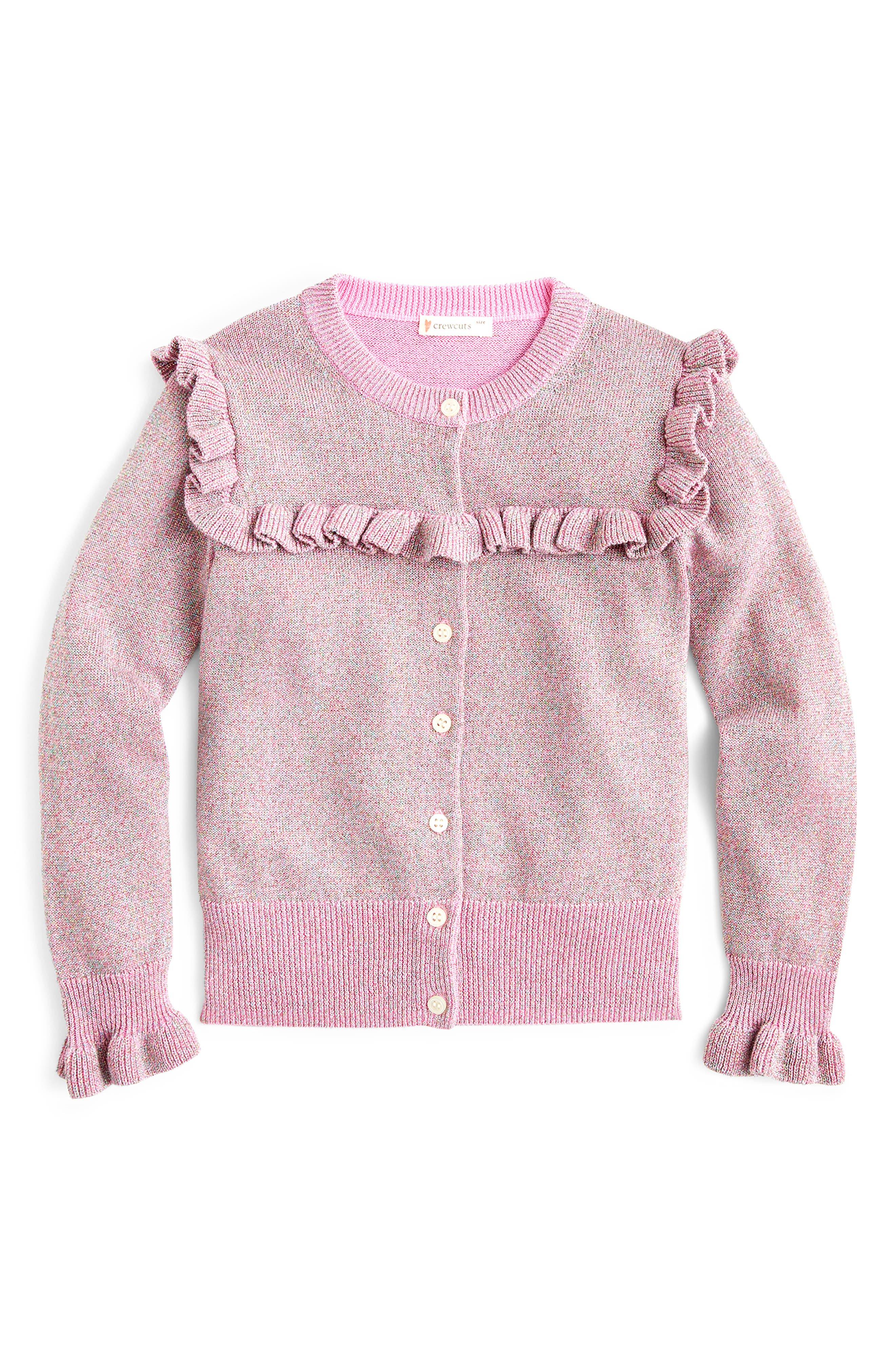 Toddler Girls Crewcuts By Jcrew Sparkly Ruffle Trimmed Cardigan Sweater Size 2T  Pink