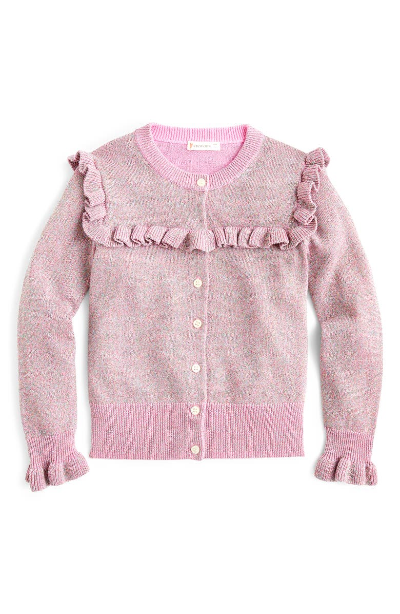 CREWCUTS BY J.CREW Sparkly Ruffle Trimmed Cardigan Sweater, Main, color, PETUNIA RAINBOW LUREX