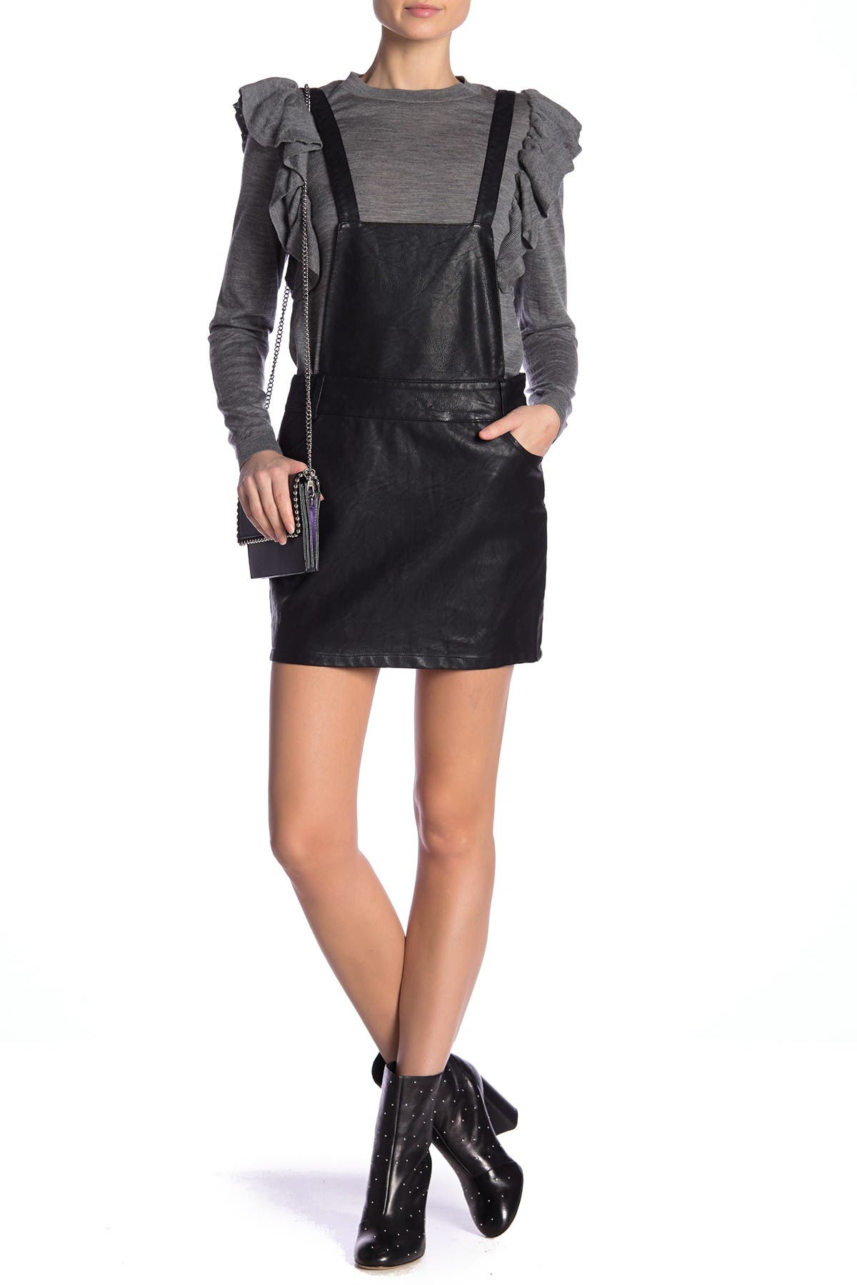 Image of BB Dakota Twice Shy Faux Leather Pinaforce Dress