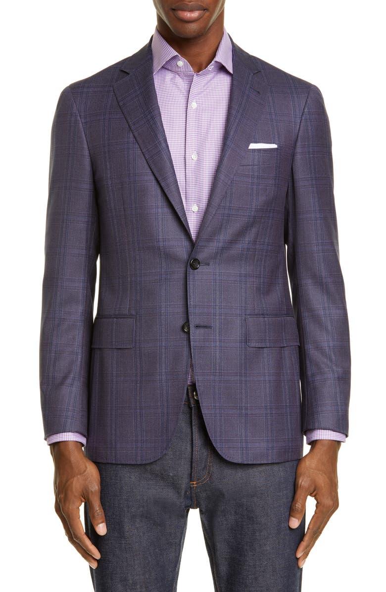 CANALI Kei Trim Fit Plaid Wool Sport Coat, Main, color, BLUE