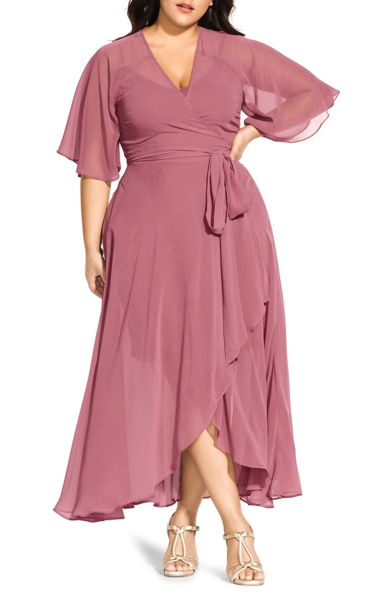 CITY CHIC Enthrall Me High/Low Dress, Main, color, DUSTY ROSE