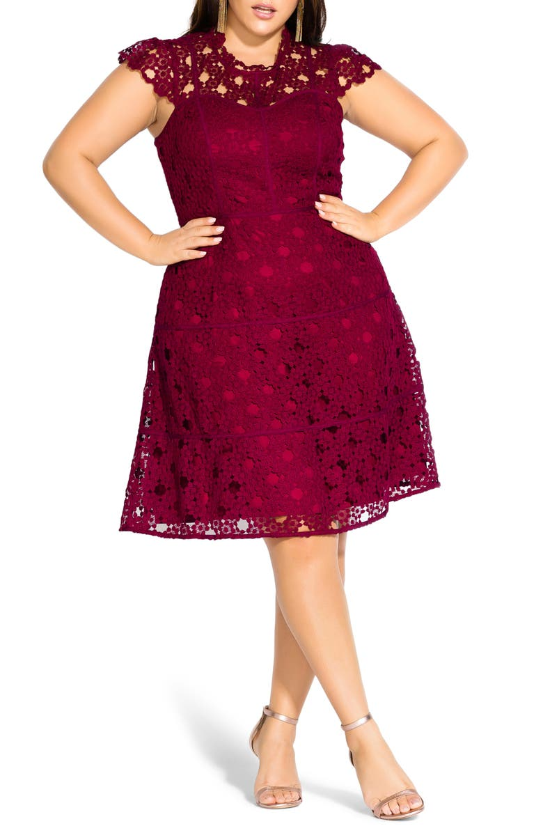 CITY CHIC Lovey Lace Fit & Flare Dress, Main, color, DARK CHERRY