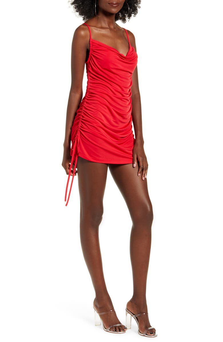 TIGER MIST Porto Ruched Minidress, Main, color, RED