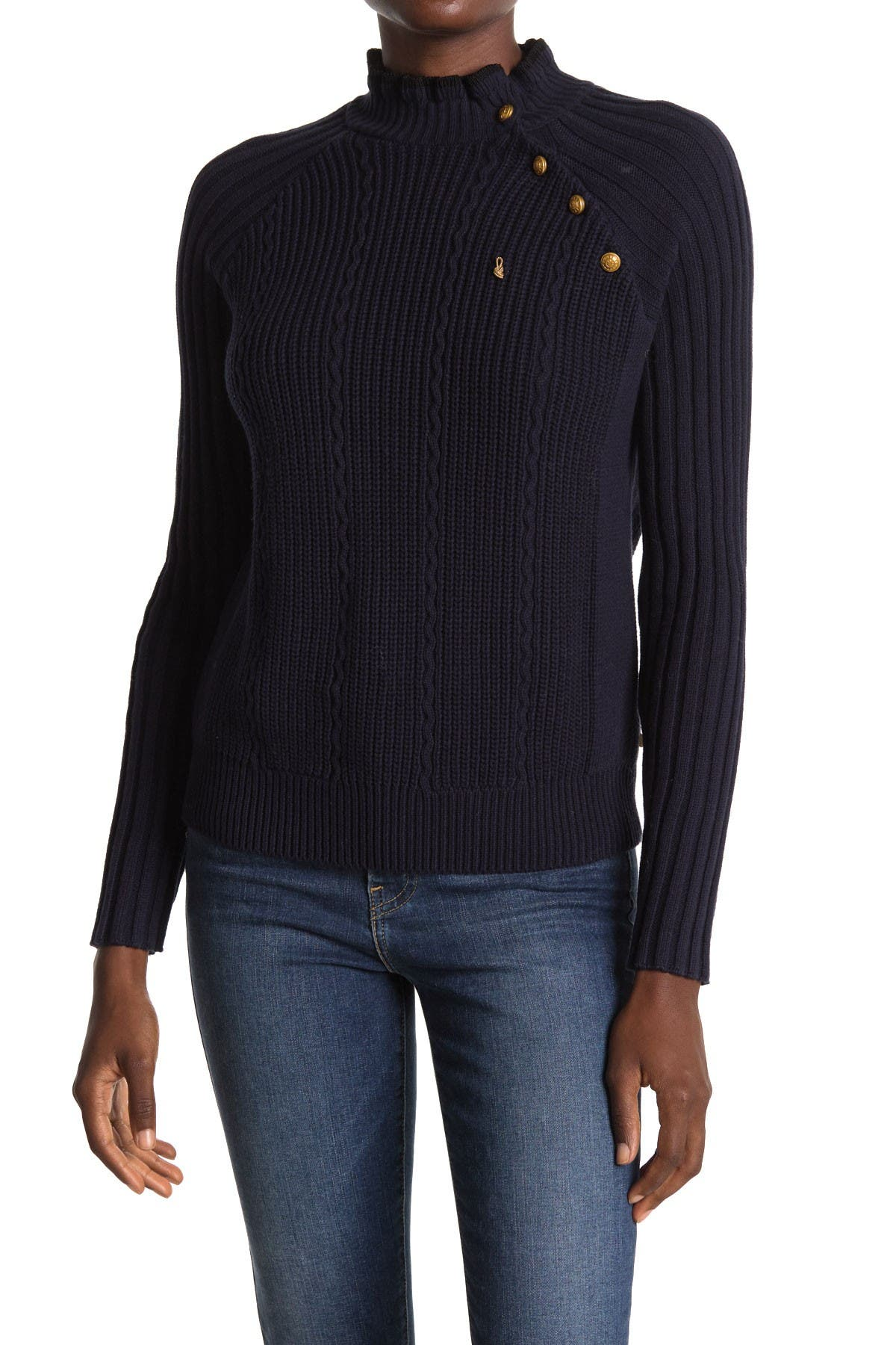 Image of Scotch & Soda Button Detail Mock Neck Sweater