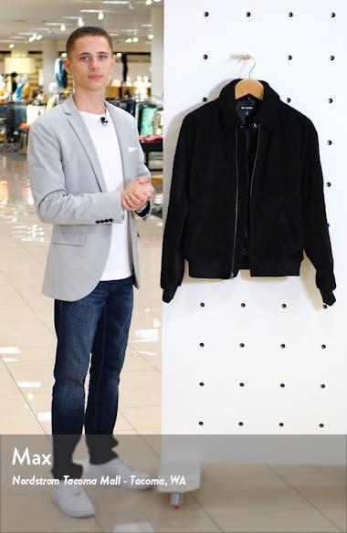 x Alex Costa Fleece Collar Suede Bomber Jacket, sales video thumbnail