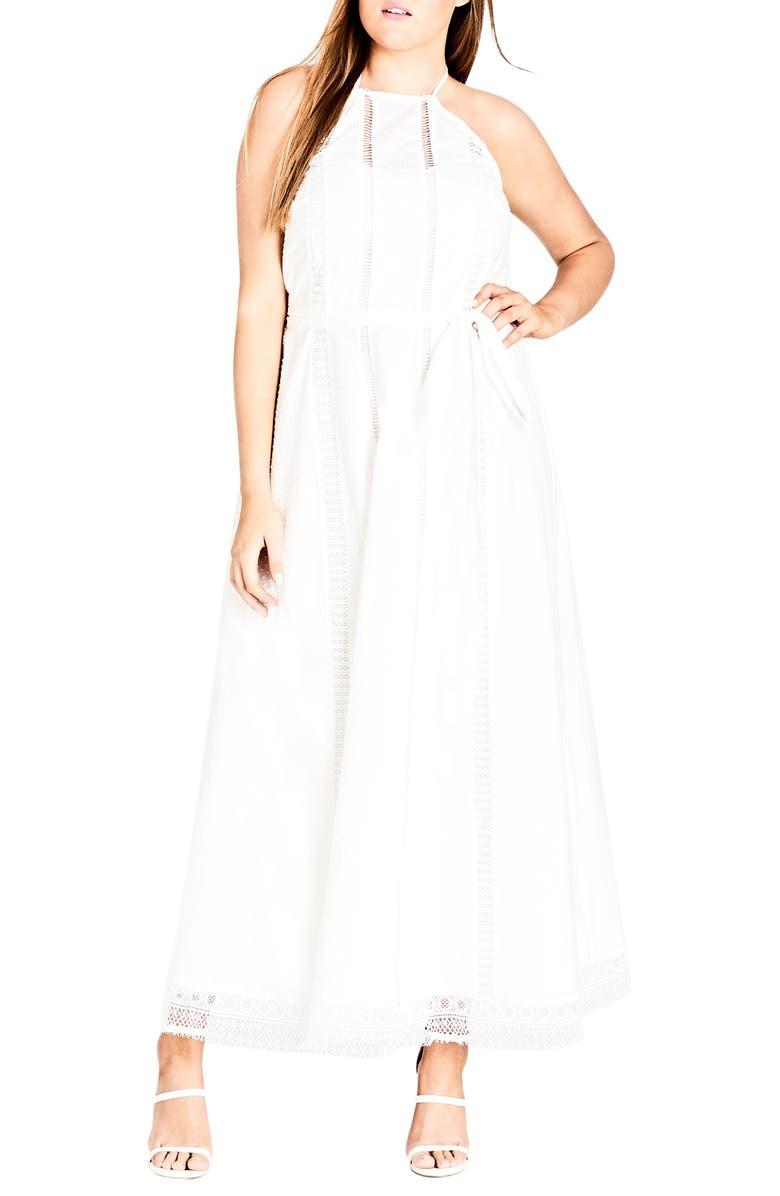 CITY CHIC Lace Trim Swiss Dot Halter Maxi Dress, Main, color, IVORY