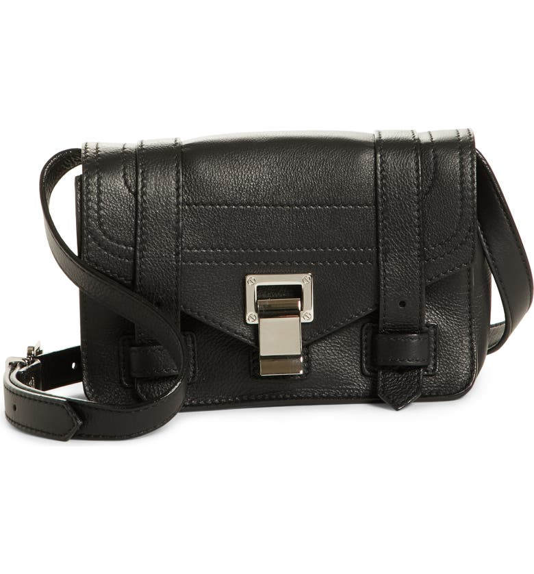 PROENZA SCHOULER Mini PS1 Leather Crossbody Bag, Main, color, 001
