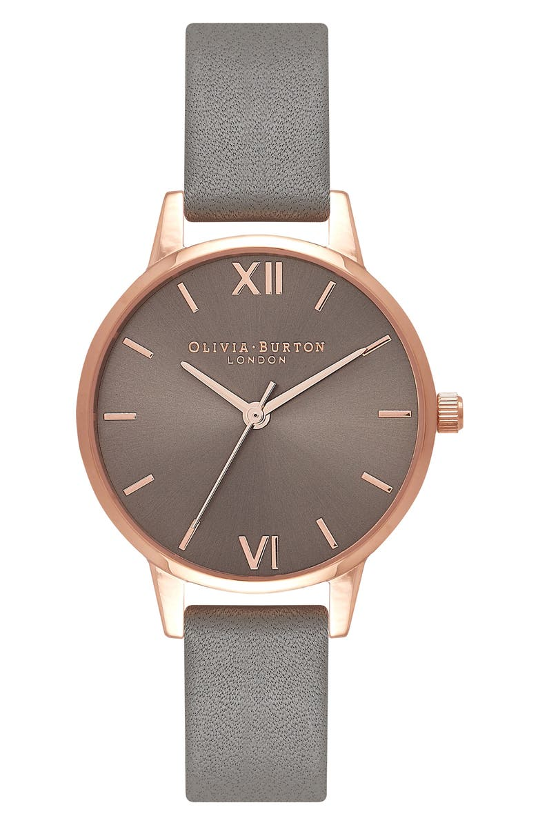 OLIVIA BURTON Midi Dial Leather Strap Watch, 30mm, Main, color, 021