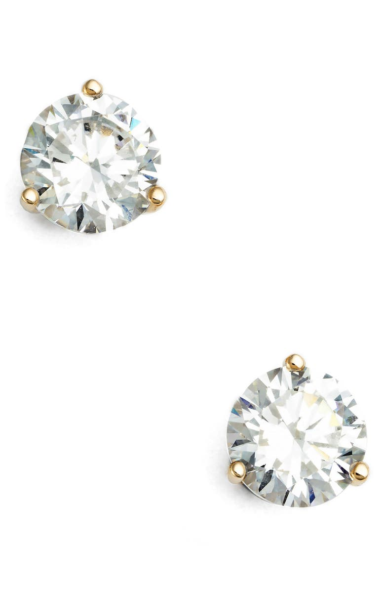 NORDSTROM 2ct tw Cubic Zirconia Earrings, Main, color, CLEAR- GOLD ROUND