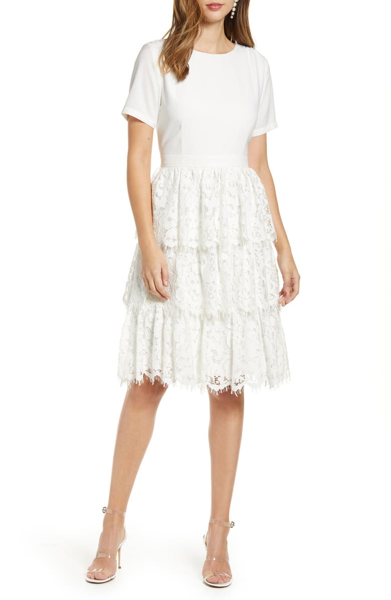 RACHEL PARCELL Mix Lace Dress, Main, color, IVORY CLOUD