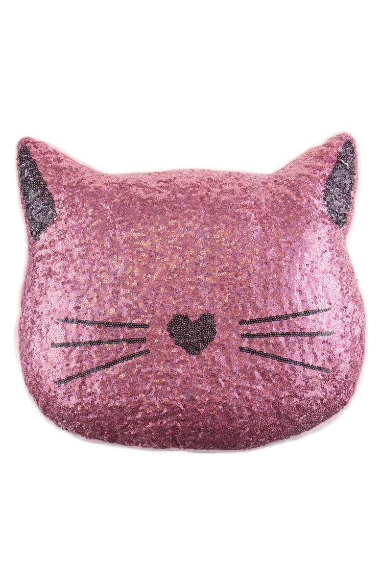 CAPELLI NEW YORK Sequin Cat Accent Pillow, Main, color, PINK COMBO