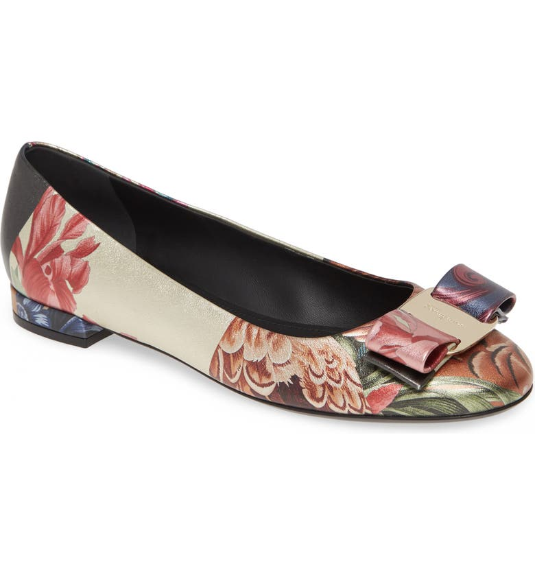 SALVATORE FERRAGAMO Varina Floral & Feather Print Ballet Flat, Main, color, FLORAL MULTI