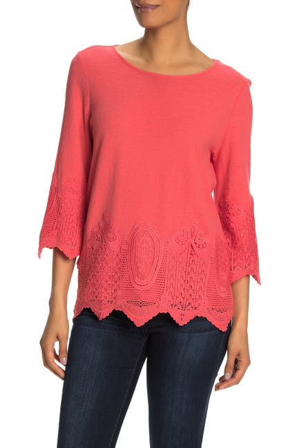 Image of Adrianna Papell Gauxy Crepe Crochet Blouse