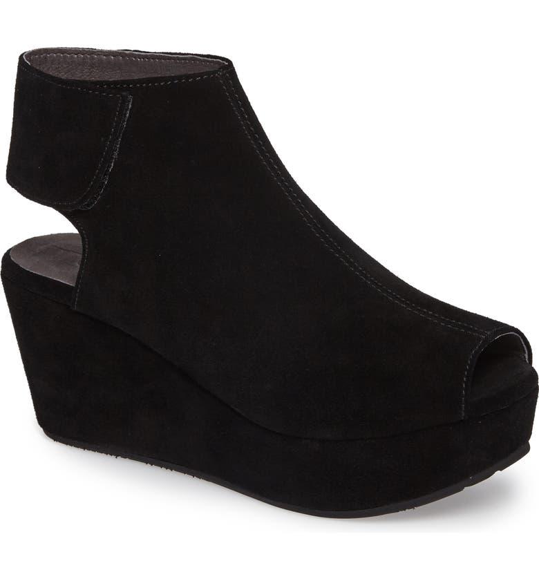 CHOCOLAT BLU Cutout Wedge Sandal, Main, color, BLACK SUEDE