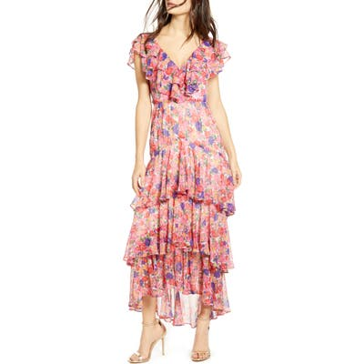 Wayf Chelsea Tiered Ruffle Maxi Dress, Pink