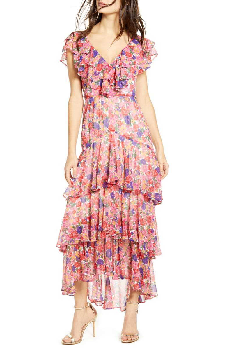WAYF Chelsea Tiered Ruffle Maxi Dress, Main, color, RAINBOW CARNATIONS