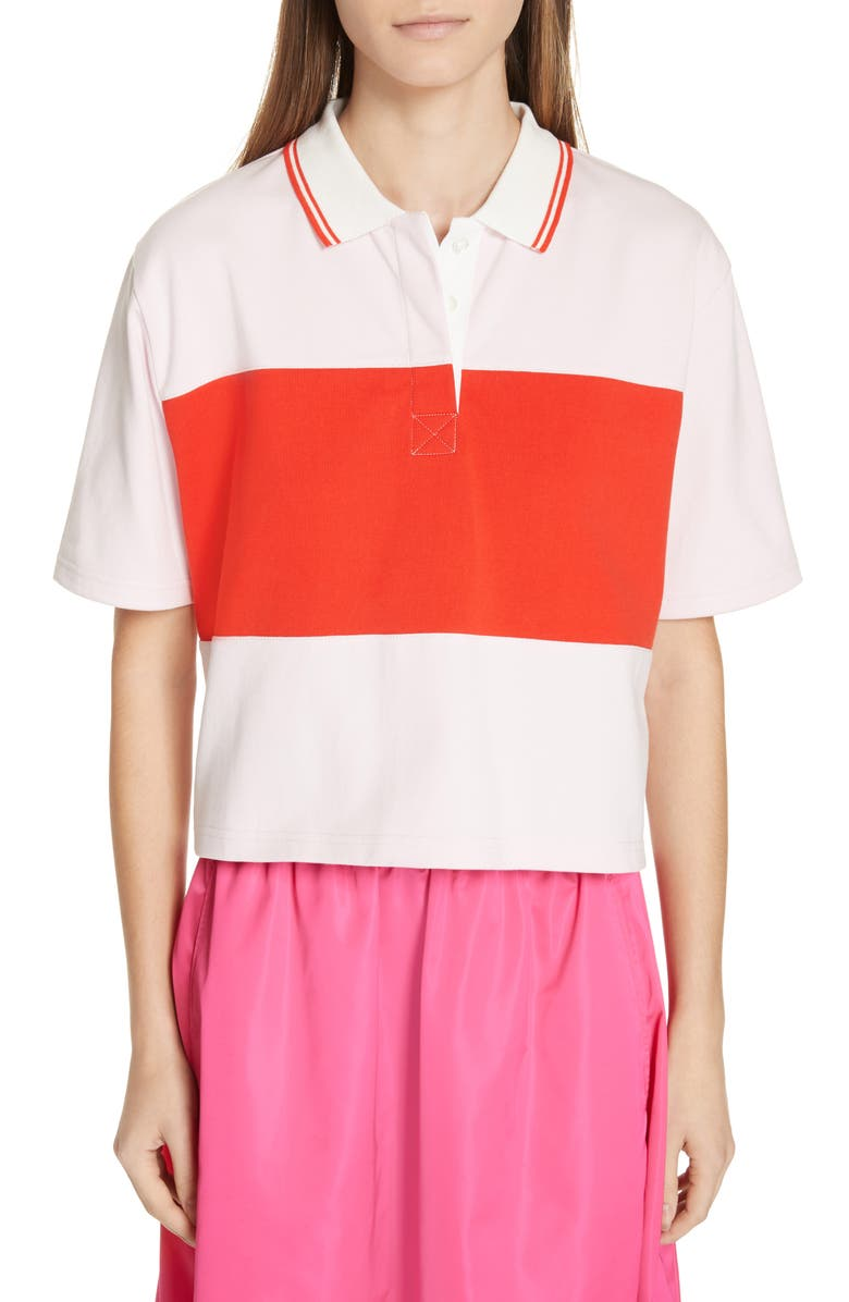 TORY SPORT Colorblock Crop Polo, Main, color, COTTON PINK/ RED