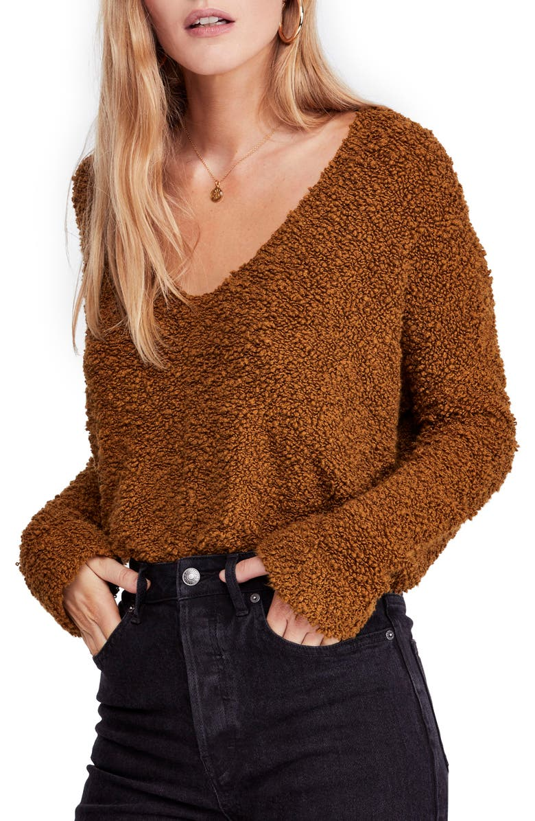 FREE PEOPLE Popcorn Sweater, Main, color, MOSS