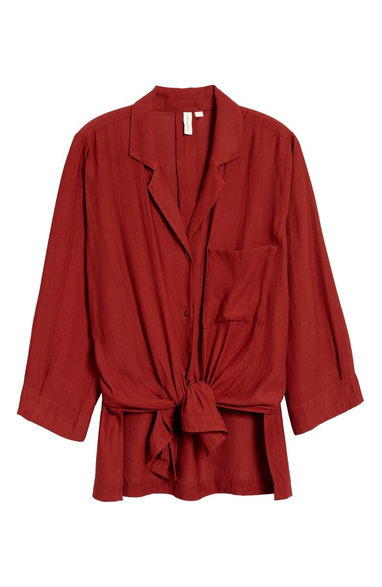 TREASURE & BOND Tie High/Low Shirt, Main, color, BURGUNDY RUSSET
