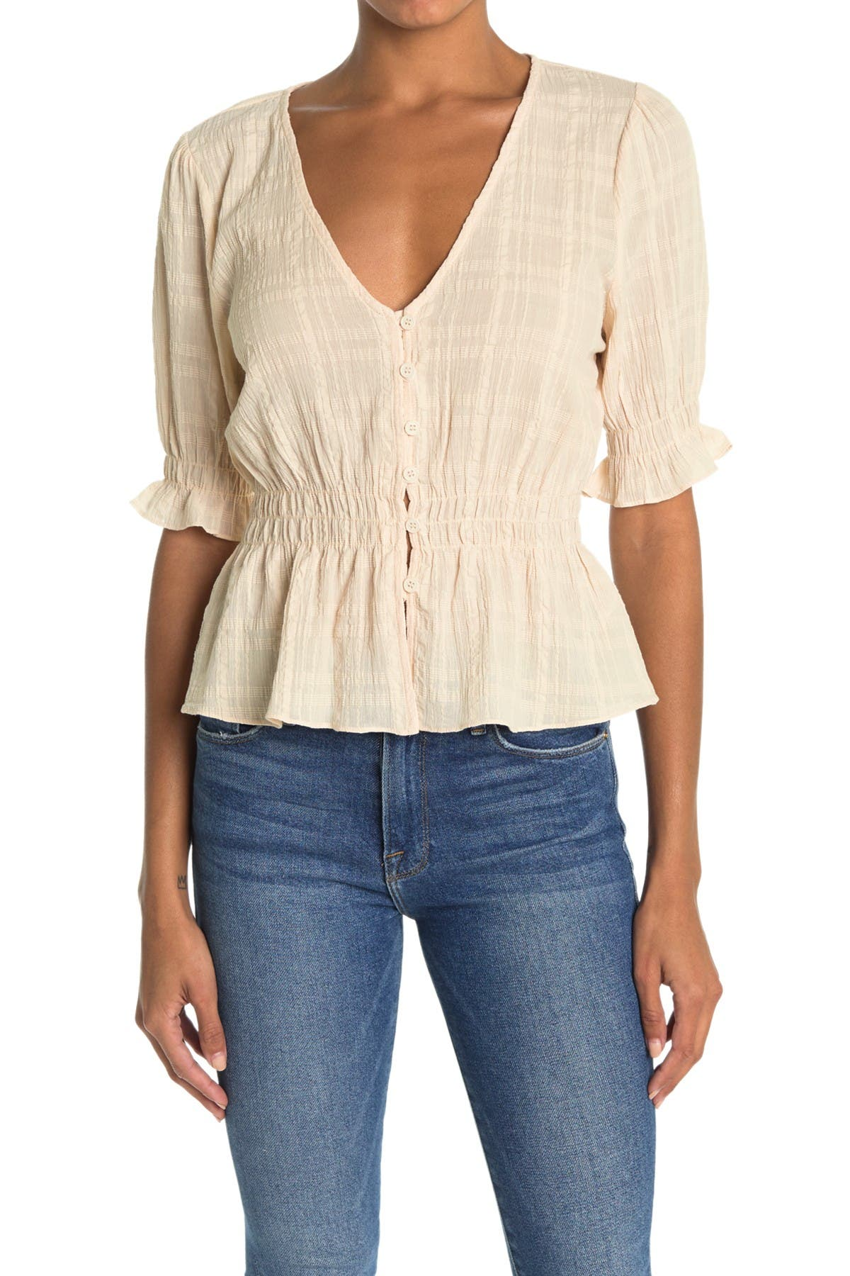 Image of Lush Shirred Button Top