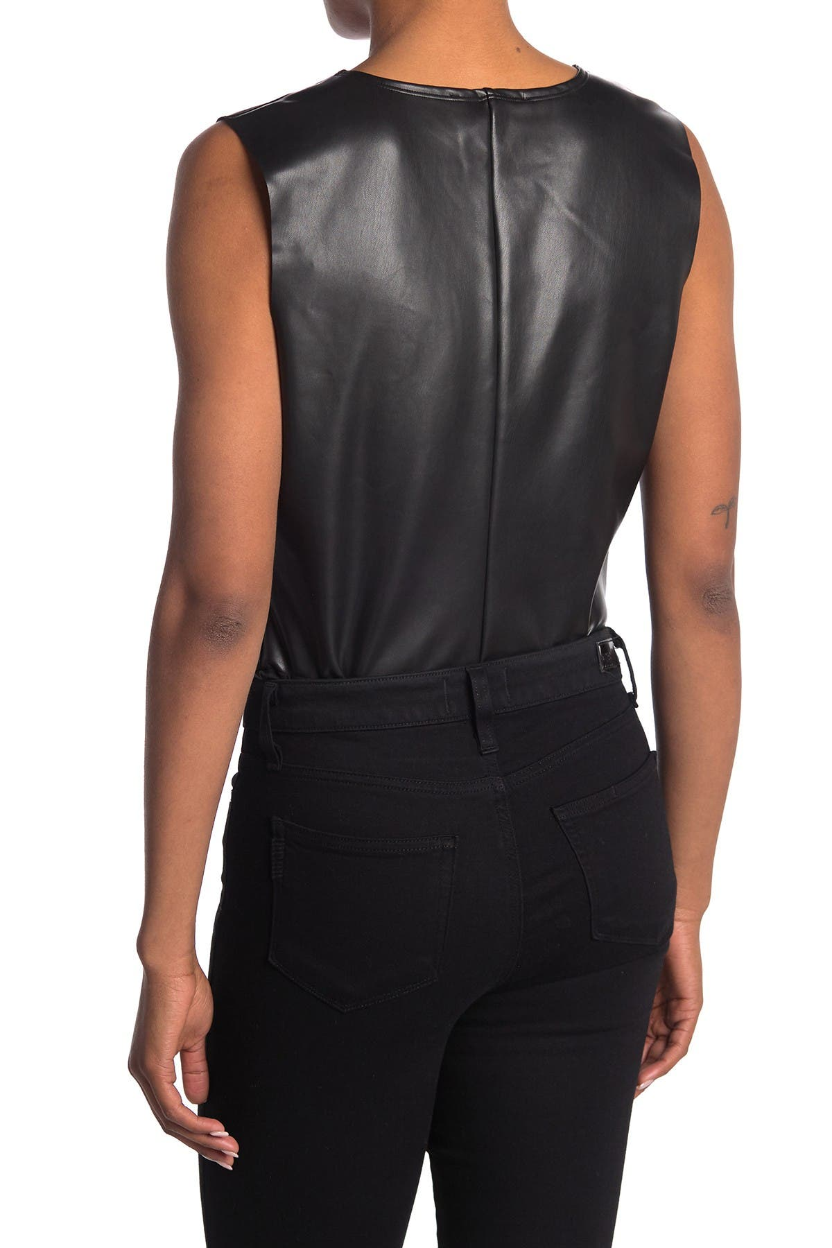 Image of Seven7 V-Neck Faux Leather Bodysuit