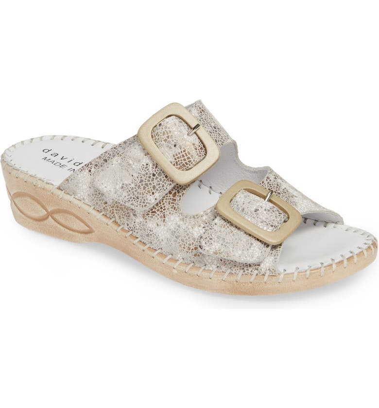 DAVID TATE La Vida Slide Sandal, Main, color, WHITE LEATHER