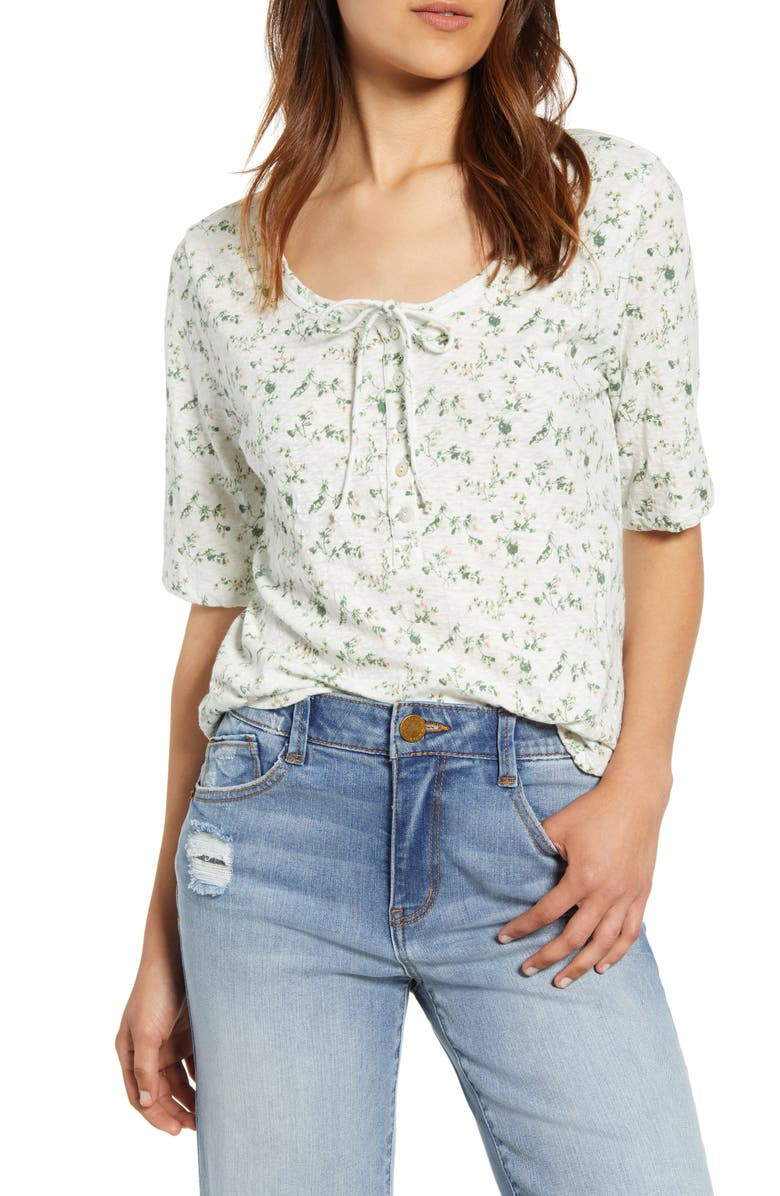 LUCKY BRAND Tie Neck Floral Top, Main, color, WHITE MULTI