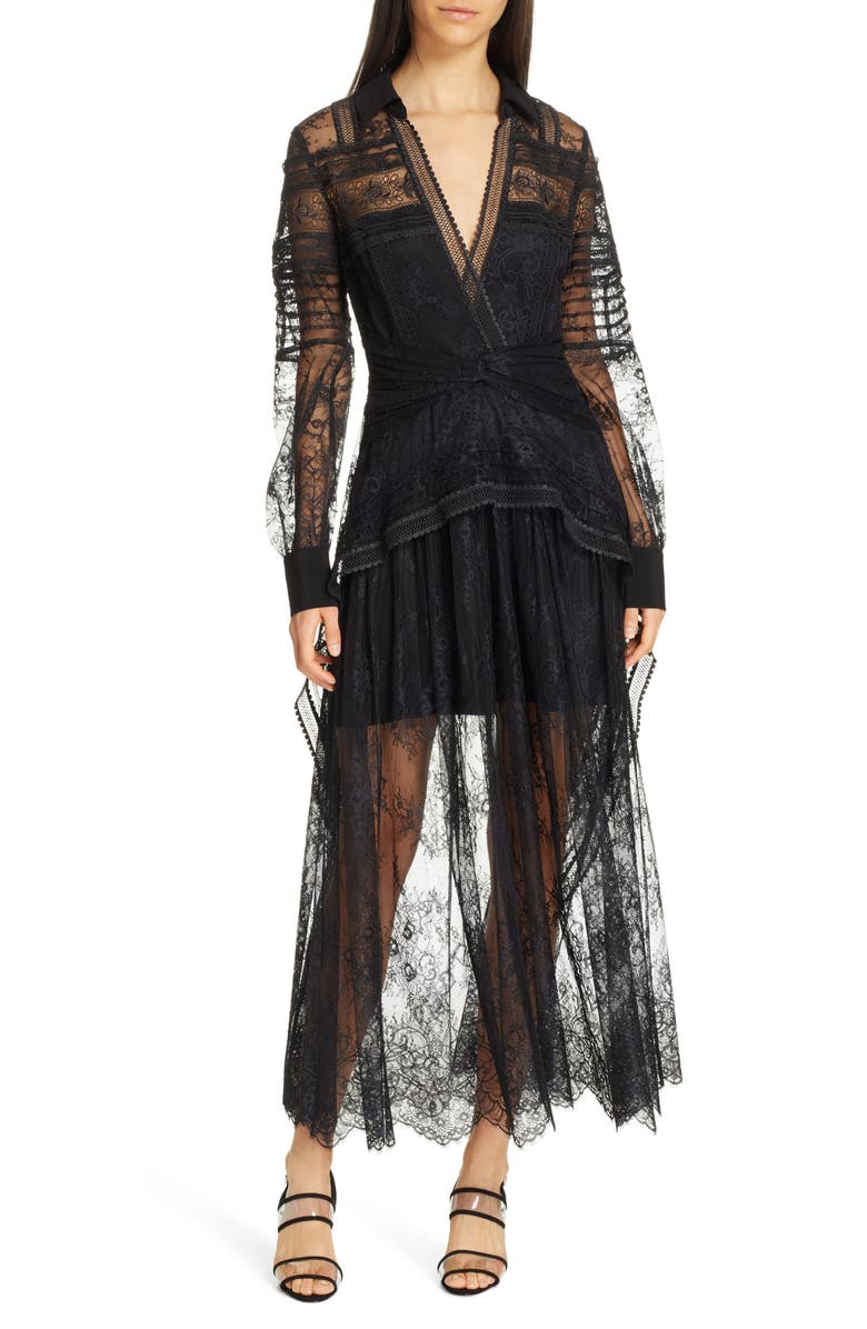 SELF-PORTRAIT Lace Shirtdress, Main, color, BLACK
