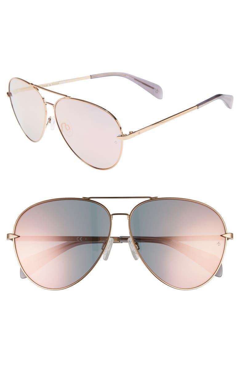 RAG & BONE 63mm Oversize Aviator Sunglasses, Main, color, ANTIQUE GOLD