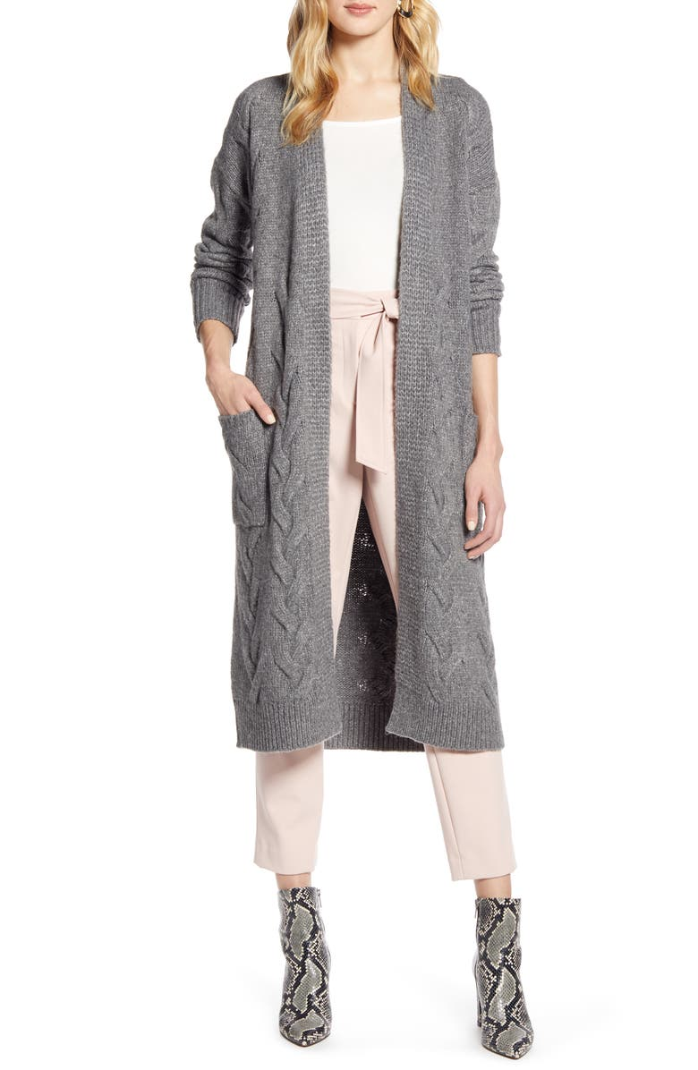 HALOGEN<SUP>®</SUP> Cable Knit Long Cardigan, Main, color, GREY DARK HEATHER