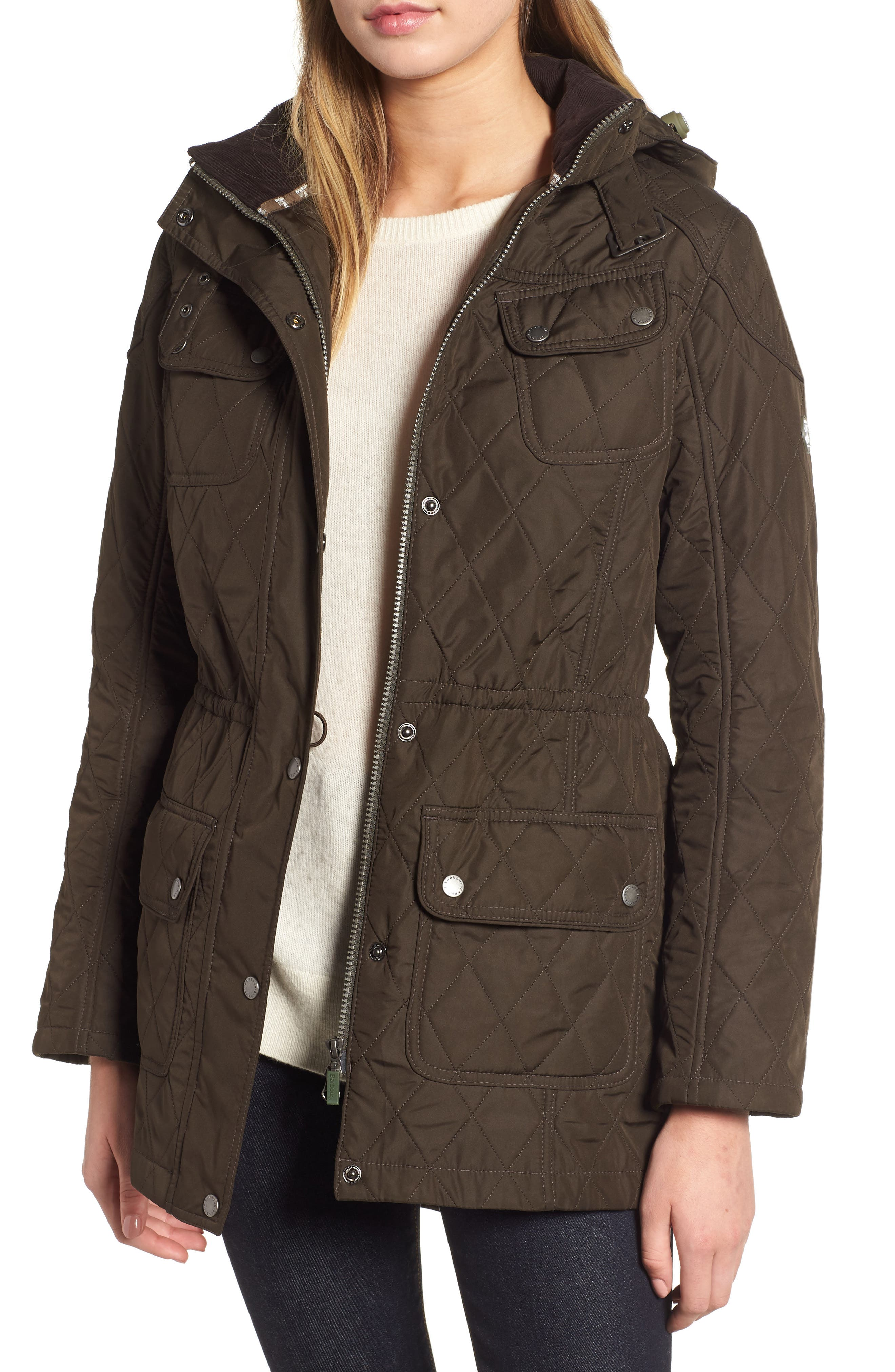 'Arrow' Quilted Anorak, Main, color, 340