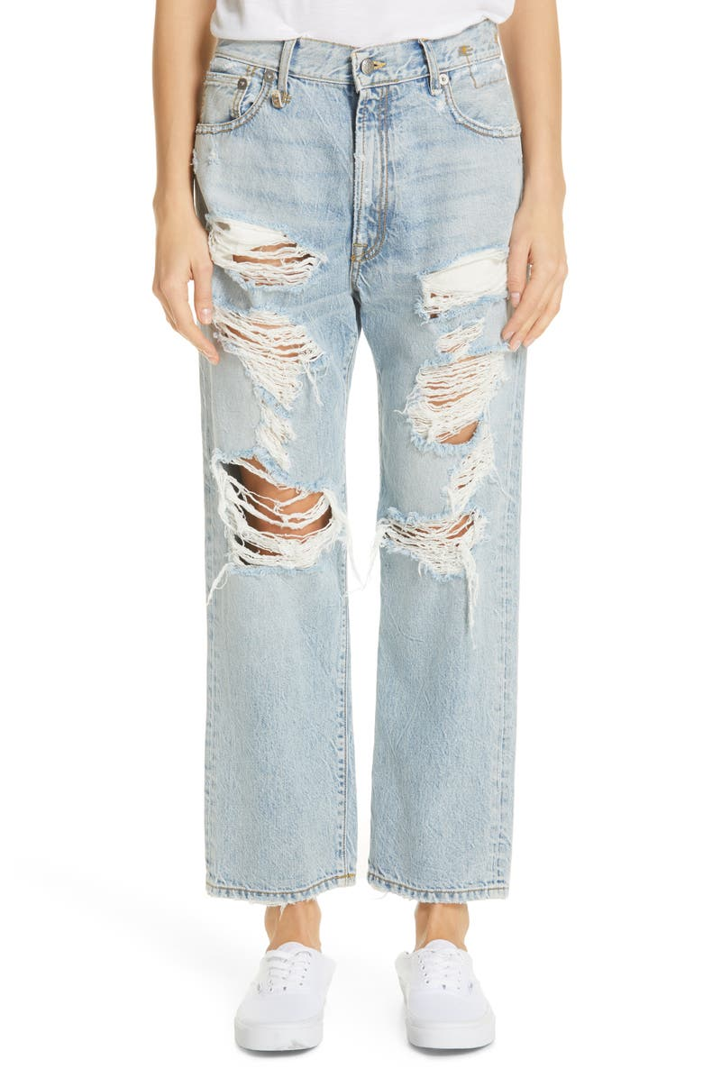 R13 Ripped Boyfriend Jeans, Main, color, MILTON W/ RIPS
