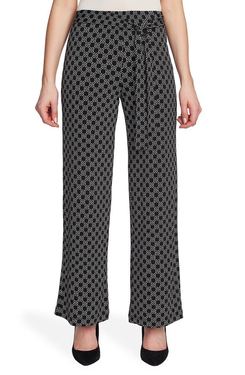 CHAUS Celestial Links Tie Waist Pants, Main, color, RICH BLACK