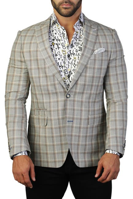 Image of Maceoo Beethoven Plaid Two Button Tailored Fit Suit Separate Blazer