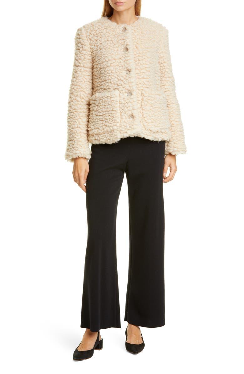 MANSUR GAVRIEL Cashmere & Silk Fleece Short Jacket, Main, color, 900