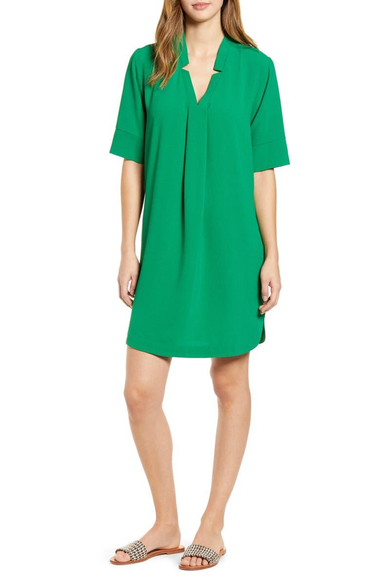 BOBEAU Pleat Front Curved Hem Shirtdress, Main, color, GREEN JOLLY