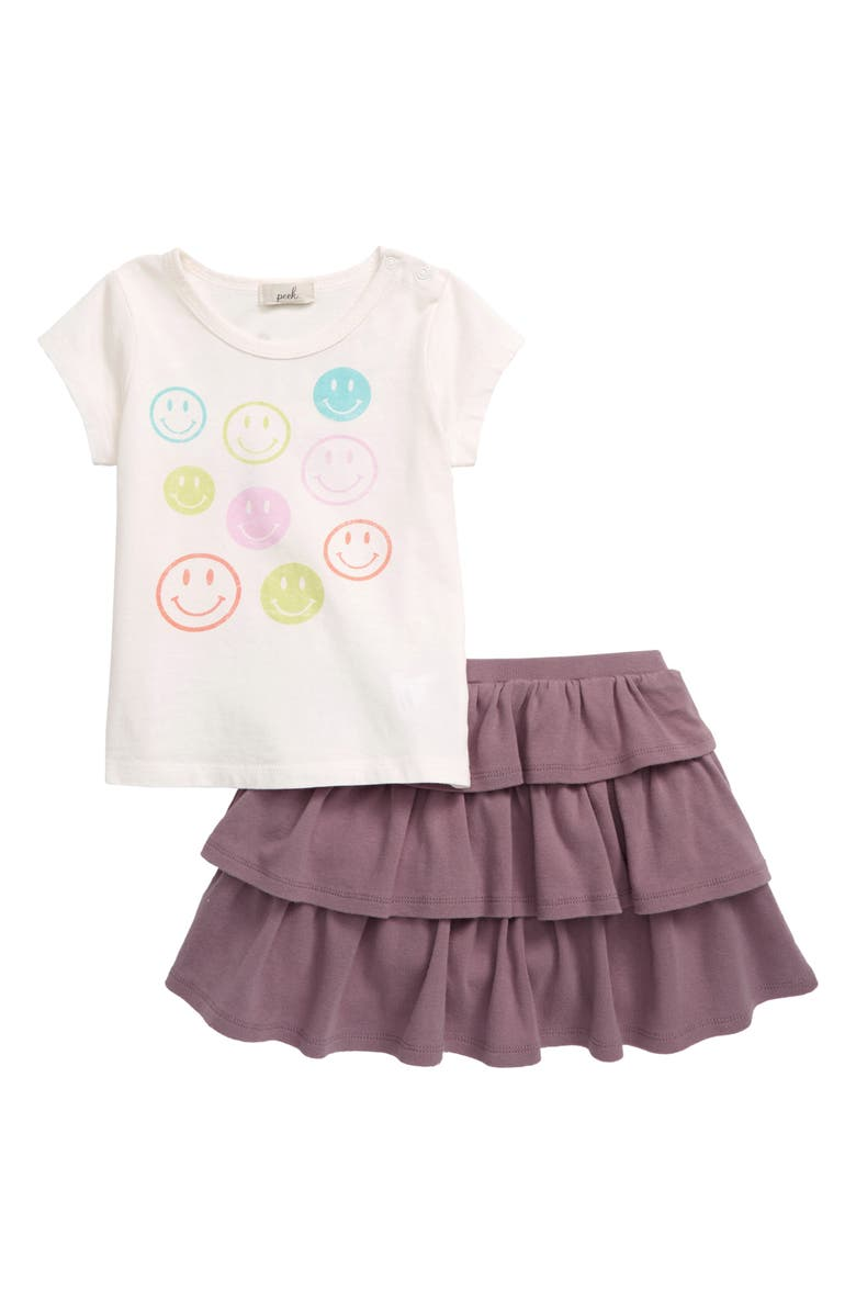 PEEK ESSENTIALS Smiley Face T-Shirt & Skirt Set, Main, color, OFF-WHITE
