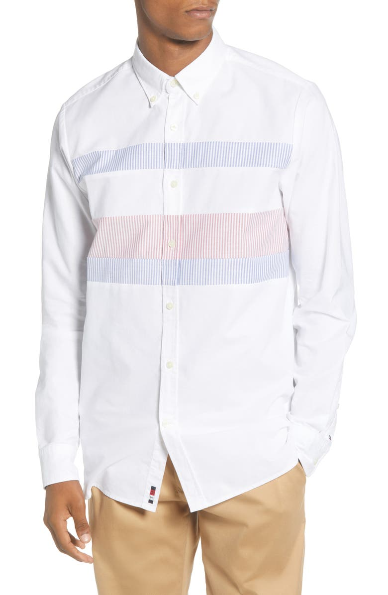 TOMMY HILFIGER Ithaca Flag Slim Fit Button-Down Shirt, Main, color, WHITE