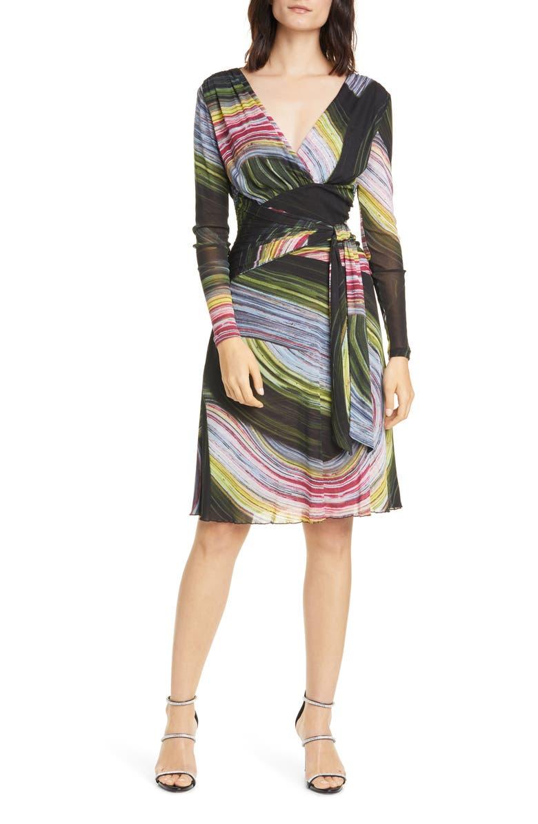 DVF Indigo Long Sleeve Faux Wrap Dress, Main, color, HORIZON STONE CANTEEN