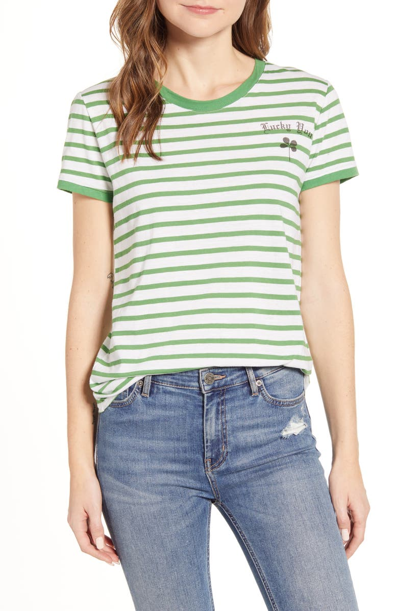 LUCKY BRAND Lucky You Stripe T-Shirt, Main, color, GREEN MULTI