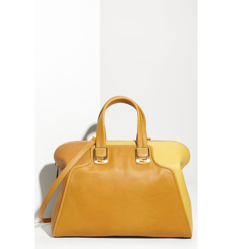 FENDI 'Chameleon Colorblock' Calfskin Leather Top Zip Tote, Main, color, 700