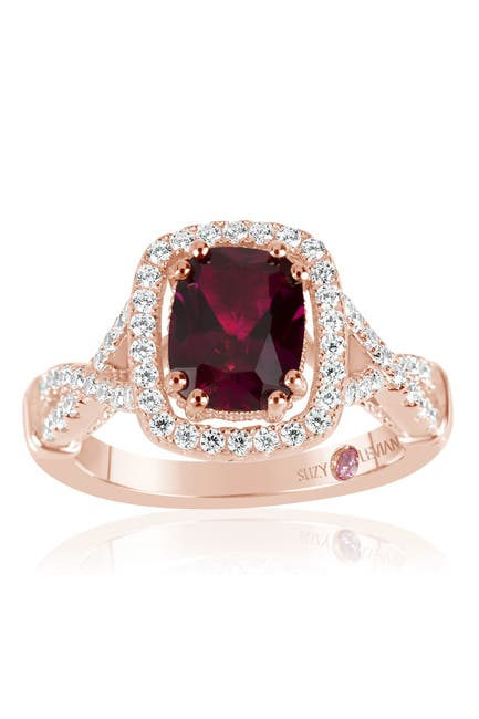 Image of Suzy Levian Pink Rhodium Plated Sterling Silver Cushion-Cut CZ Split Shank Ring